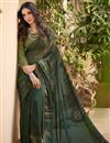 image of Print Designs On Function Wear Dark Green Color Saree In Crepe Fabric