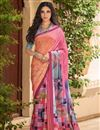 image of Printed Pink Color Designer Saree With Blouse In Crepe Fabric