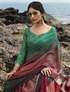 photo of Maroon Color Regular Wear Fancy Printed Saree In Satin Silk Fabric