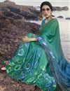 photo of Regular Wear Satin Silk Fabric Fancy Cyan Color Printed Saree