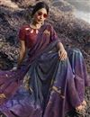 photo of Regular Wear Purple Color Fancy Printed Saree In Satin Silk Fabric
