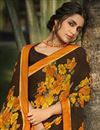photo of Brown Color Daily Wear Fancy Printed Saree In Georgette Fabric
