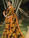 image of Brown Color Daily Wear Fancy Printed Saree In Georgette Fabric