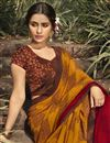 photo of Georgette Fabric Daily Wear Fancy Mustard Color Printed Saree