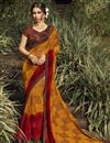 image of Georgette Fabric Daily Wear Fancy Mustard Color Printed Saree