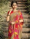 photo of Daily Wear Georgette Fabric Fancy Dark Beige Color Printed Saree