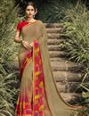 image of Daily Wear Georgette Fabric Fancy Dark Beige Color Printed Saree