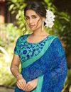 photo of Daily Wear Blue Color Fancy Printed Saree In Georgette Fabric