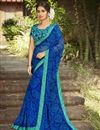 image of Daily Wear Blue Color Fancy Printed Saree In Georgette Fabric