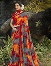image of Georgette Fabric Daily Wear Fancy Printed Saree In Grey Color