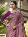 photo of Brasso Fabric Fancy Festive Wear Pink Color Printed Saree