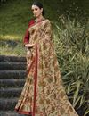 image of Festive Wear Brasso Fabric Fancy Beige Color Printed Saree