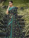 image of Festive Wear Navy Blue Color Fancy Printed Saree In Brasso Fabric