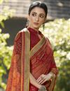 photo of Brasso Fabric Festive Wear Fancy Printed Saree In Maroon Color