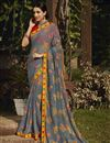image of Grey Color Fancy Festive Wear Brasso Fabric Printed Saree