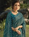 photo of Teal Color Regular Wear Fancy Printed Saree In Georgette Silk Fabric