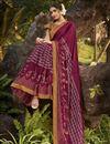 photo of Georgette Silk Fabric Fancy Regular Wear Wine Color Printed Saree