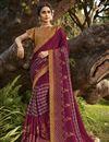 image of Georgette Silk Fabric Fancy Regular Wear Wine Color Printed Saree
