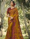 image of Georgette Silk Fabric Regular Wear Fancy Mustard Color Printed Saree