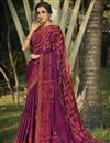 image of Regular Wear Georgette Silk Fabric Fancy Purple Color Printed Saree