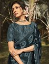 photo of Regular Wear Dark Grey Color Fancy Printed Saree In Georgette Silk Fabric