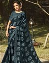 image of Regular Wear Dark Grey Color Fancy Printed Saree In Georgette Silk Fabric