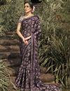 image of Georgette Silk Fabric Regular Wear Fancy Printed Saree In Wine Color