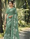 image of Sea Green Color Fancy Regular Wear Georgette Silk Fabric Printed Saree