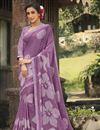 image of Georgette Silk Fabric Regular Wear Lavender Color Fancy Printed Saree