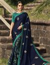 image of Navy Blue Color Regular Wear Fancy Georgette Silk Fabric Printed Saree