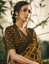 photo of Mustard Color Daily Wear Fancy Printed Saree In Georgette Fabric