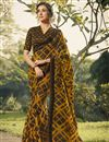 image of Mustard Color Daily Wear Fancy Printed Saree In Georgette Fabric