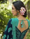 photo of Georgette Fabric Daily Wear Fancy Navy Blue Color Printed Saree