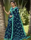 image of Georgette Fabric Daily Wear Fancy Navy Blue Color Printed Saree