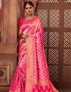 image of Occasion Wear Brocade Weaving Saree In Rani Color With Designer Blouse