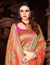 photo of Function Wear Silk Fabric Weaving Work On Saree In Orange Color