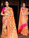 image of Weaving Work Designs On Orange Color Silk Fabric Party Wear Saree