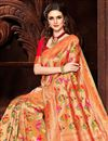 photo of Orange Color Silk Fabric Designer Saree With Weaving Work Designs