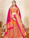image of Weaving Work Art Silk Bridal Lehenga In Orange Color With Fancy Dupatta