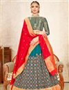 image of Eid Special Teal Color Wedding Wear 3 Piece Lehenga In Art Silk With Fancy Dupatta