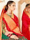 photo of Weaving Work On Wedding Wear Bridal Lehenga In Art Silk Dark Green Color With Fancy Dupatta