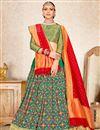 image of Weaving Work On Wedding Wear Bridal Lehenga In Art Silk Dark Green Color With Fancy Dupatta