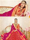 photo of Weaving Work Art Silk Designer 3 Piece Lehenga In Red Color With Fancy Dupatta