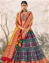 image of Navy Blue Color Silk Fabric Wedding Wear Designer Lehenga Choli