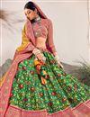 photo of Green Color Silk Fabric Reception Wear Designer Lehenga Choli