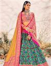 image of Cyan Color Silk Fabric Sangeet Wear Designer Lehenga Choli