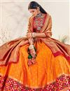 photo of Orange Color Silk Fabric Sangeet Wear Designer Lehenga Choli