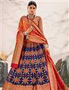 image of Navy Blue Color Silk Fabric Sangeet Wear Designer Lehenga Choli