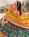 photo of Teal Color Silk Fabric Reception Wear Designer Lehenga Choli