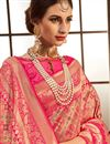 photo of Weaving Work Designs On Banarasi Silk Fabric Occasion Wear Saree In Pink With Enticing Blouse